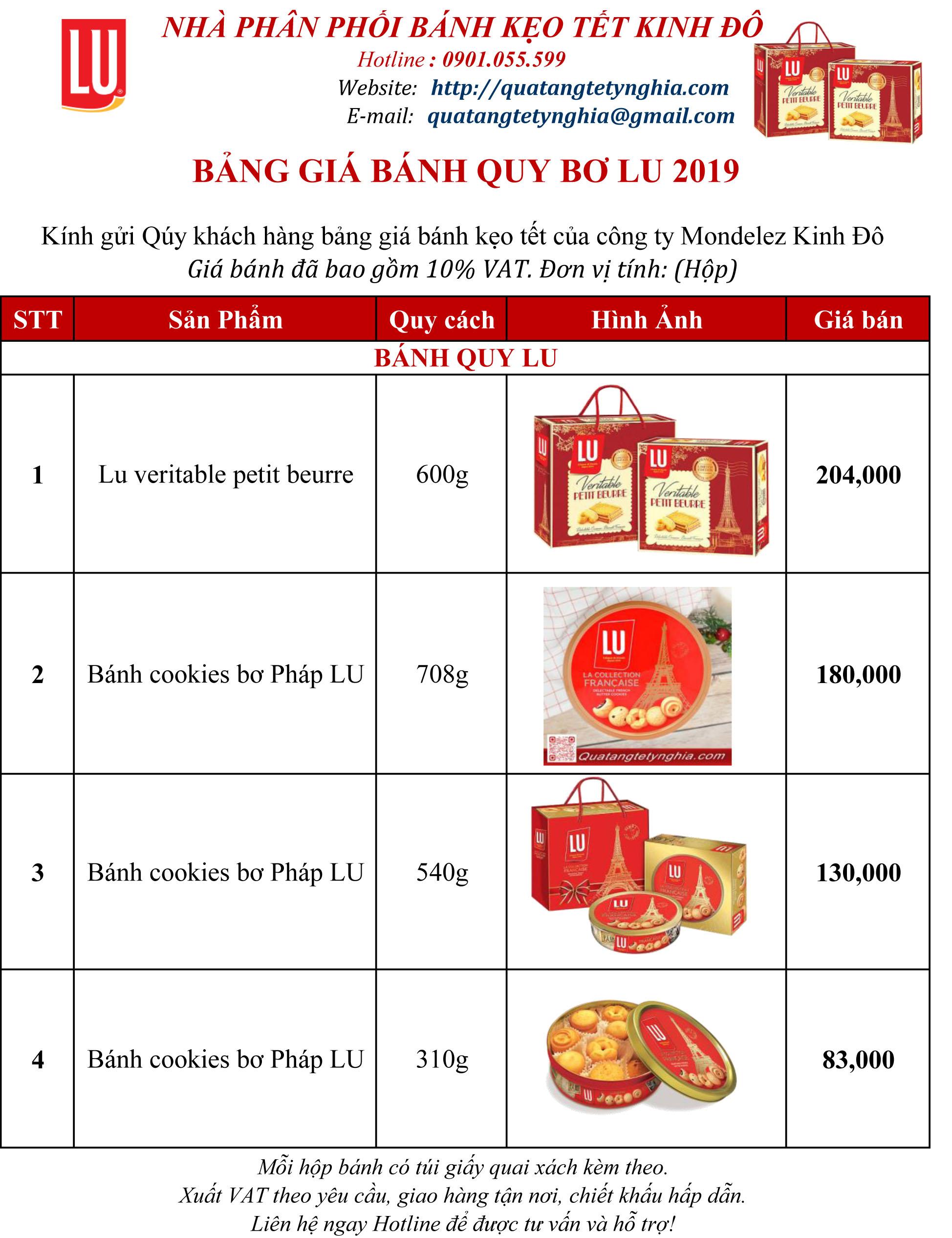 Giá bánh LU 2019